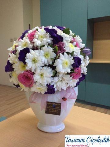 Seramikte kır çiçeklerinden aranjman 1003